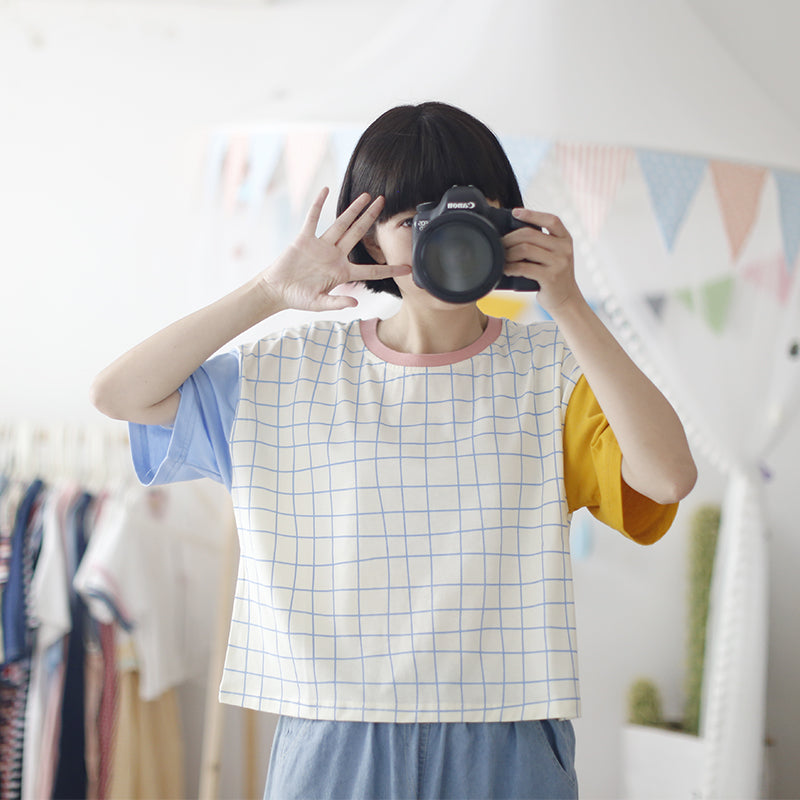 Ulzzang Lattice Short-Sleeved T-shirt KF30223