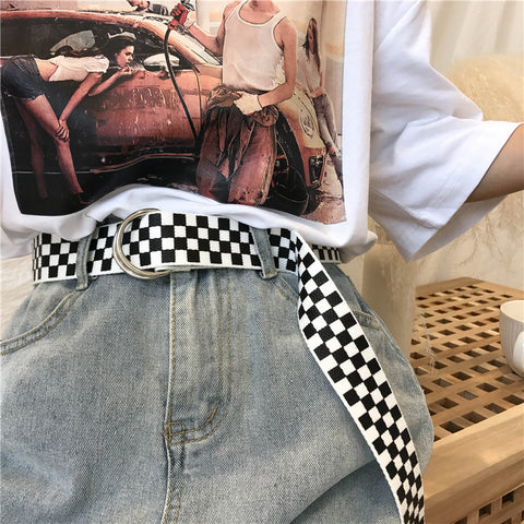 Black and white plaid belt K90615