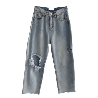 Broken hole blue jeans KF80091