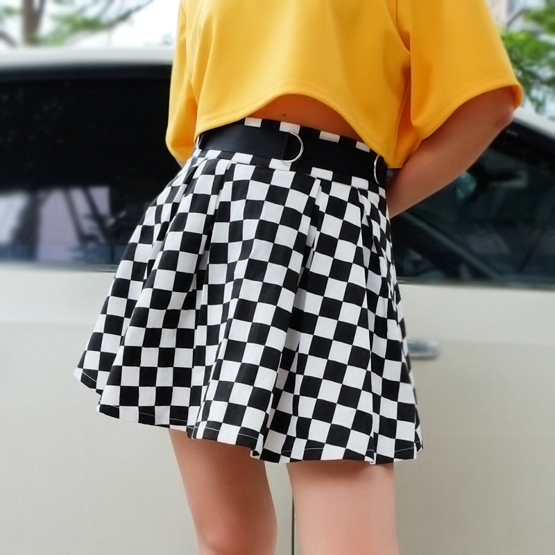 Lack and White Plaid Skirt KF30247