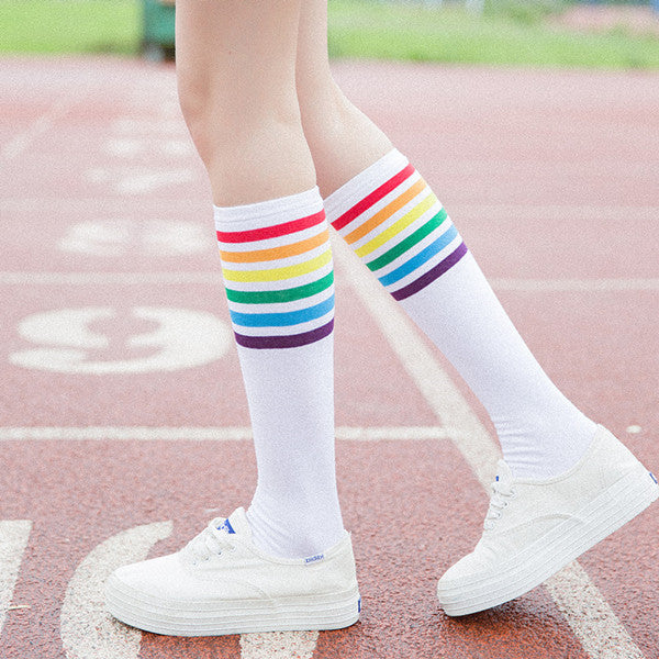 Rainbow striped socks KF50090