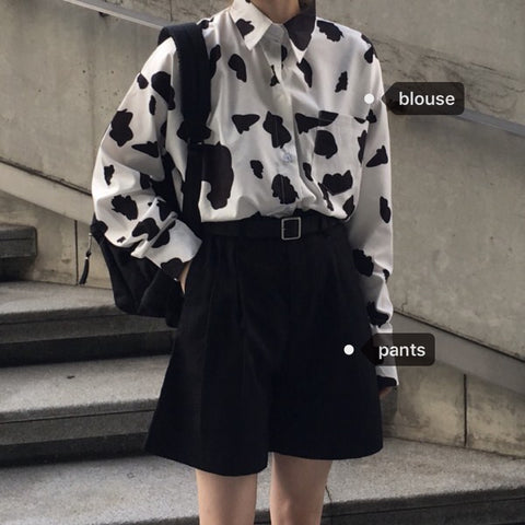 Cow Print Shirt + Black Shorts KF30372