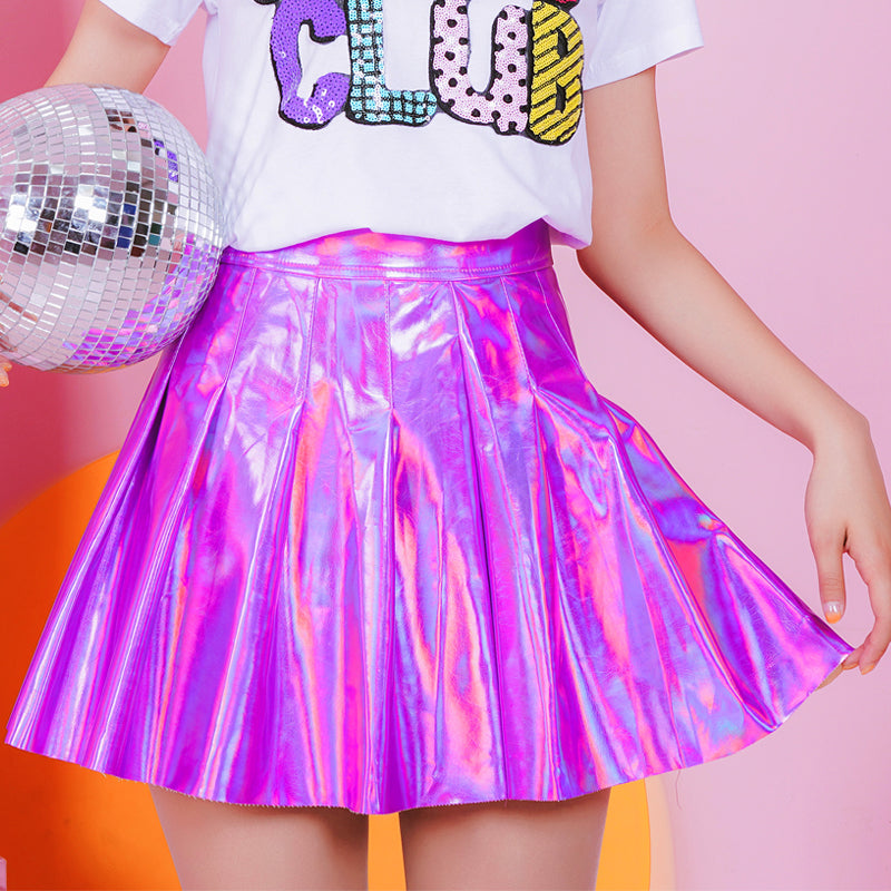 Harajuku Laser PU high waist pleated skirt KF20055