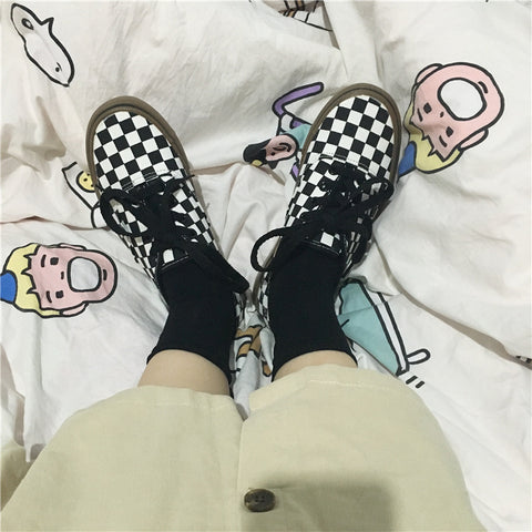 Black and white plaid canvas shoes KF90553