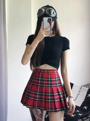 High waist plaid skirt KF2373