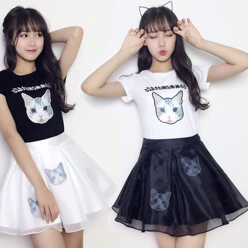 Cute Cat Sister T -Shirt And Skirt Set KF26010