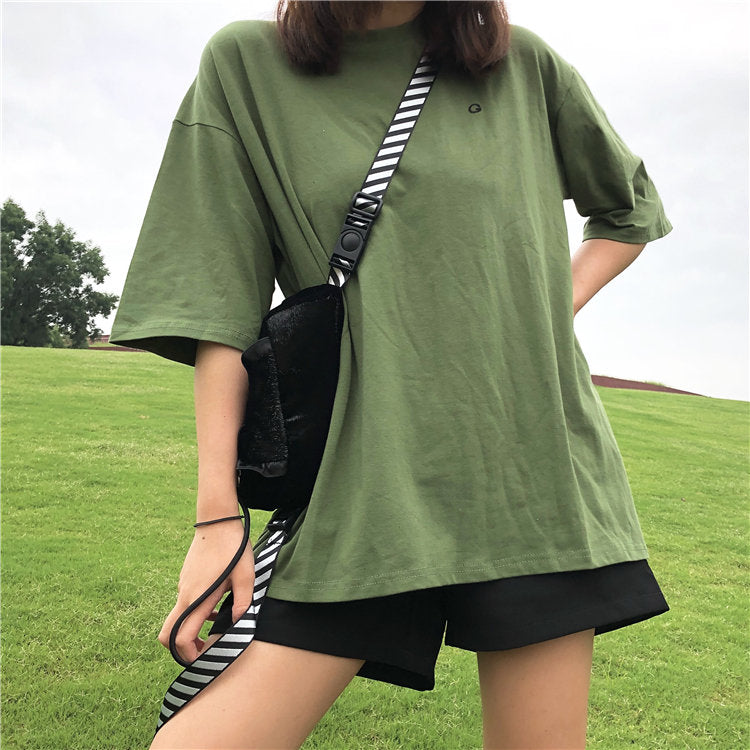 Embroidered green T-shirt KF90378