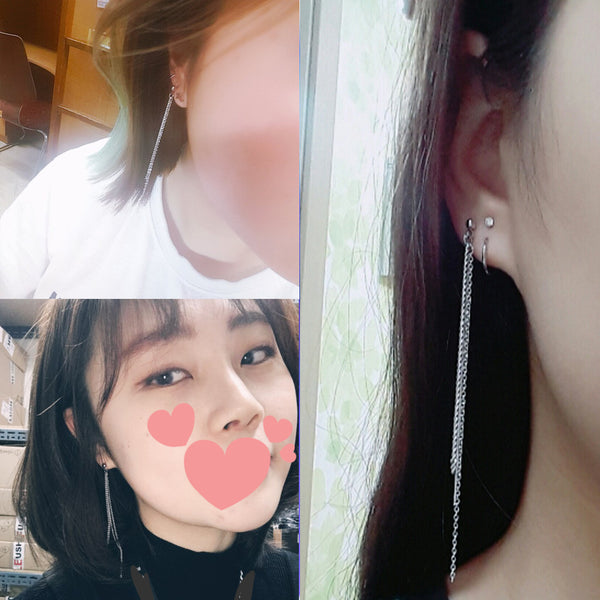 BTS-V Thin Chain Stud Earrings KF30348