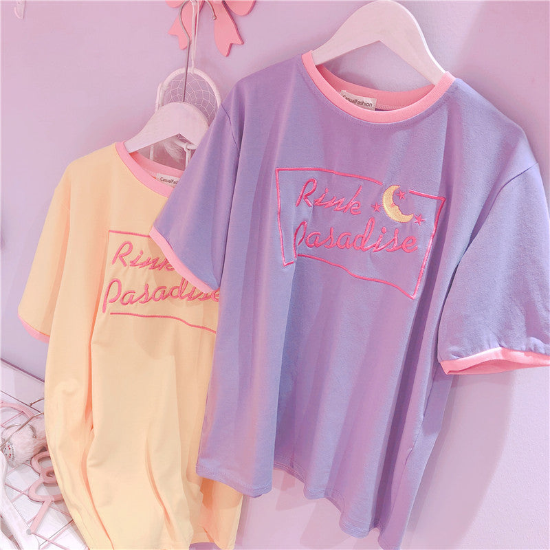 Letter embroidery t-shirt KF90690
