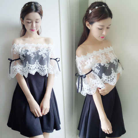 Chic black and white dress KF90063