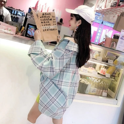 Plaid long shirt KF2287