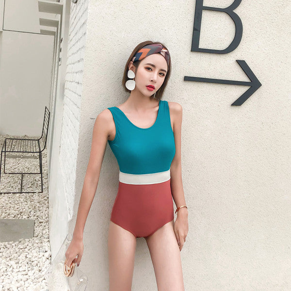Colorblock Siamese Swimsuit KF50024