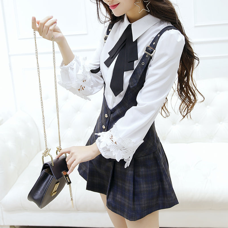Bow shirt + strap skirt KF9547