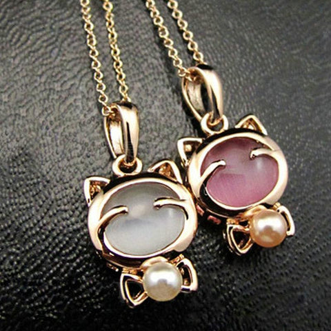 White/Pink Kitty Opal Necklace Ring  KF2081