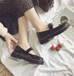 Retro black leather shoes  KF25072