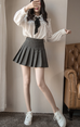 Winter wool Thicken  high waist plaid skirt KF25066