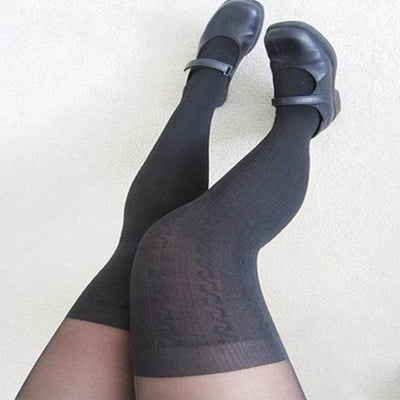 Black Thigh High Tights  KF2004