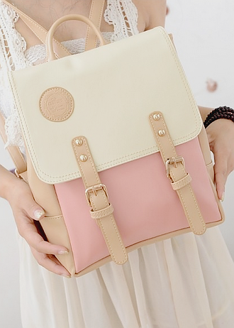 Brown and Beige Leather Bag KF60064