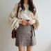 Plaid Button Tie Up Skirt KF40056
