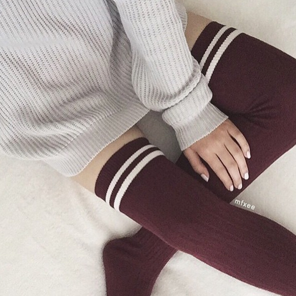 Striped Knit Thigh High Socks KF2076