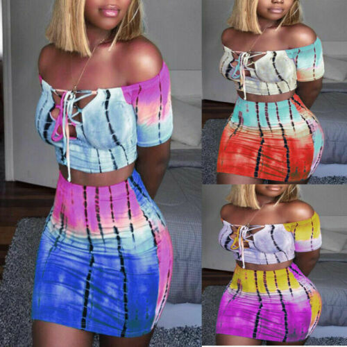 2 Piece Bandage Set Strapless Croped Top Outfit