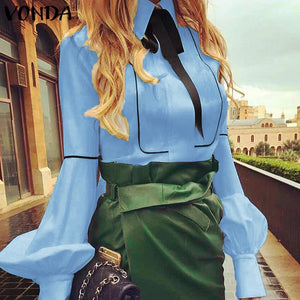 Lantern Sleeve Turn-down Collar Blouse