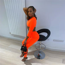 Load image into Gallery viewer, Neon Orange and Green Off The Shoulder Jumpsuits