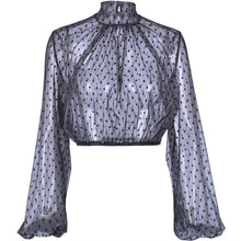 Load image into Gallery viewer, Mesh Polka Dot Long Sleeve Crop Top Blouses