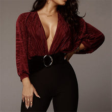 Load image into Gallery viewer, Elegant Office Plunging V-neck Long Sleeve Rompers