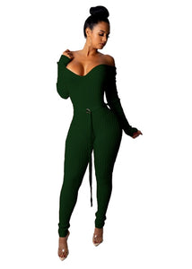 Christmas V Neck Off Shoulder Ribbed Jumpsuit W/Belt