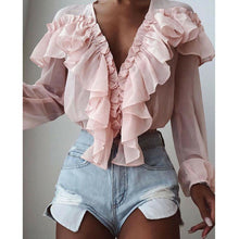 Load image into Gallery viewer, Pink Chiffon Ruffle Deep V-Neck Blouse