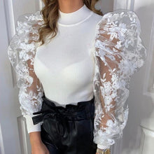 Load image into Gallery viewer, Lace Puff Sleeve Blouse