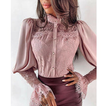 Load image into Gallery viewer, Long Sleeve Button Down Lapel Blouse