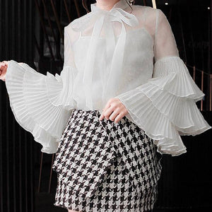 Celmia Ruffled Long Sleeve Blouse