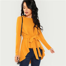 Load image into Gallery viewer, Ginger Belted Asymmetrical Hem Blouses
