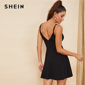 Black Solid Cami Dress