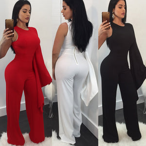 Single Long Sleeve  Wide Leg Jumpsuit