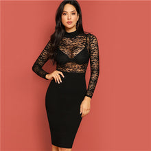 Load image into Gallery viewer, Black Mock Neck Lace Bodice Pencil Dress