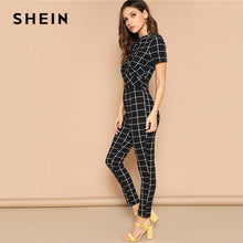 "Load image into Gallery viewer, Black and white Plaid Cross Wrap ""Two Piece"" Jumpsuit"