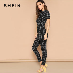 "Black and white Plaid Cross Wrap ""Two Piece"" Jumpsuit"