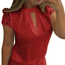 Load image into Gallery viewer, Casual Hollow Chiffon Short Sleeve LaceBlouse