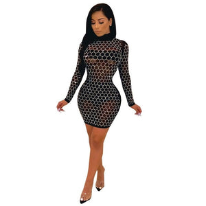 Full Sleeve Mini Sheer Dress