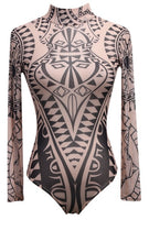 Load image into Gallery viewer, Tattoo Tribal Print Stretchy Bodysuit