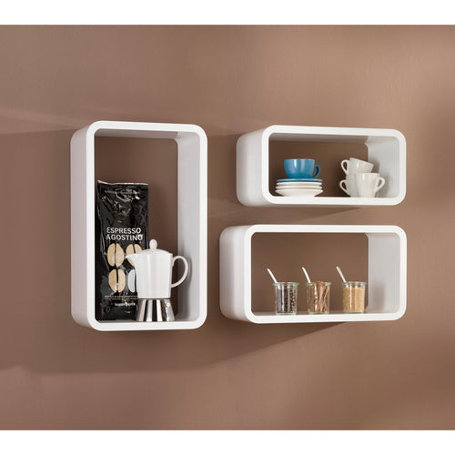 Dolle LONGCUBE Floating Shelf 3 pc set - White High Gloss