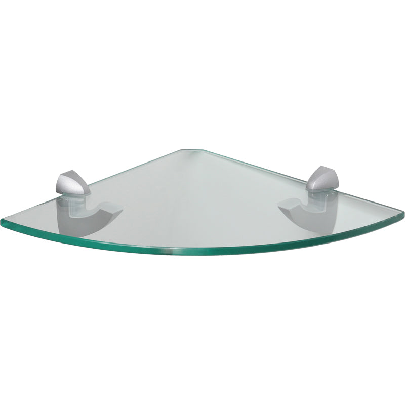GLASSLINE/Scoop Clear Glass Corner Shelf Set - 10