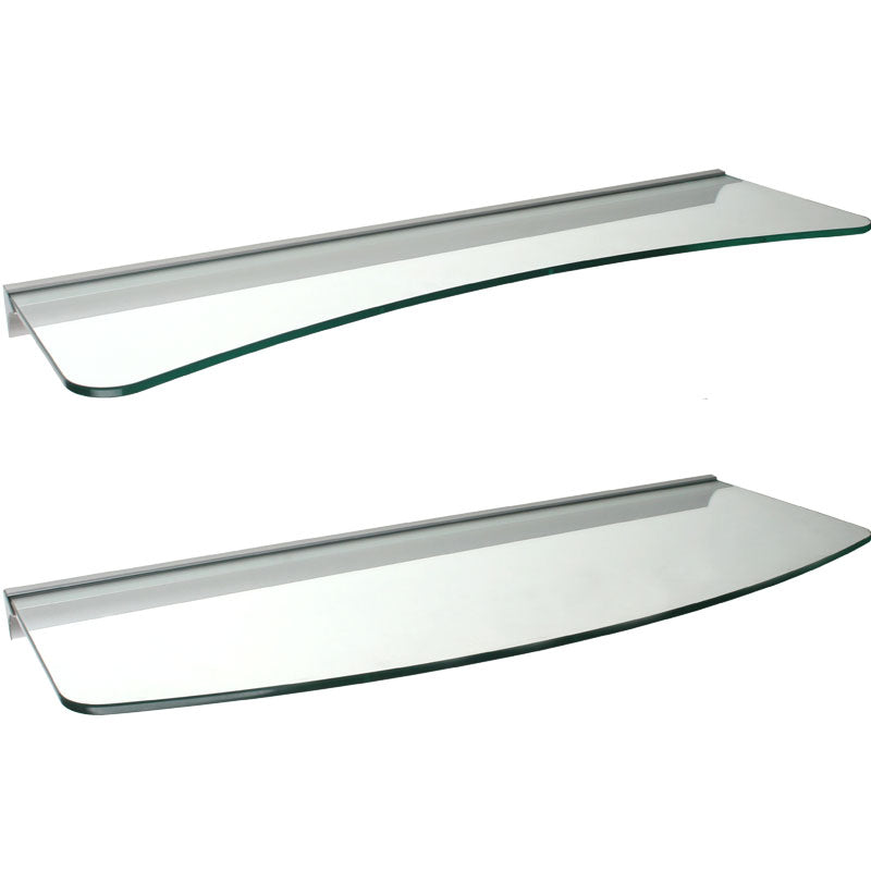 GLASSLINE/Rail Concave + Convex Glass Shelf Set - Clear
