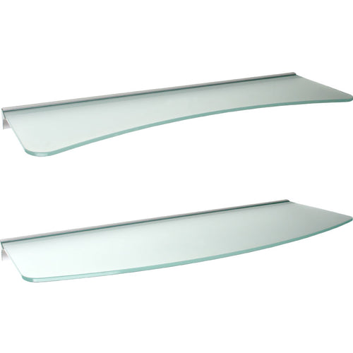 GLASSLINE Concave + Convex Rail Frosted Glass Shelf Set - 24