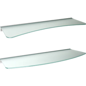 GLASSLINE Concave + Convex Rail Frosted Glass Shelf Set - 24""
