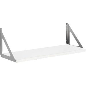"White LITE Shelf 24"" x 10"" + Silver TRI shelf bracket set"
