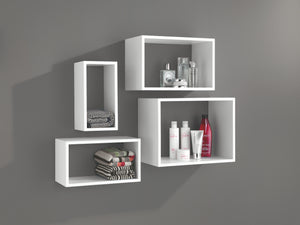 Dolle 4-Piece Windows Cube Floating Shelf Set - White